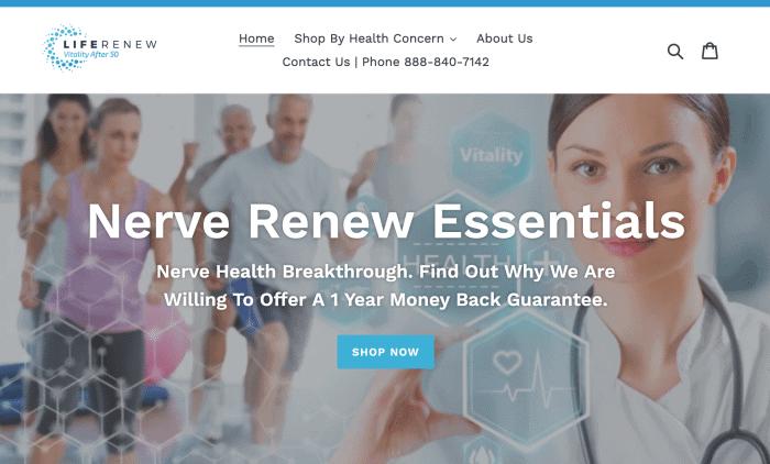 Homepage of the company Life Renew